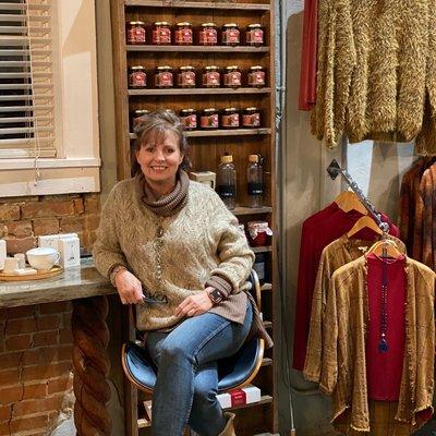 Molly Bracken Sweater Beige with Gold Threading