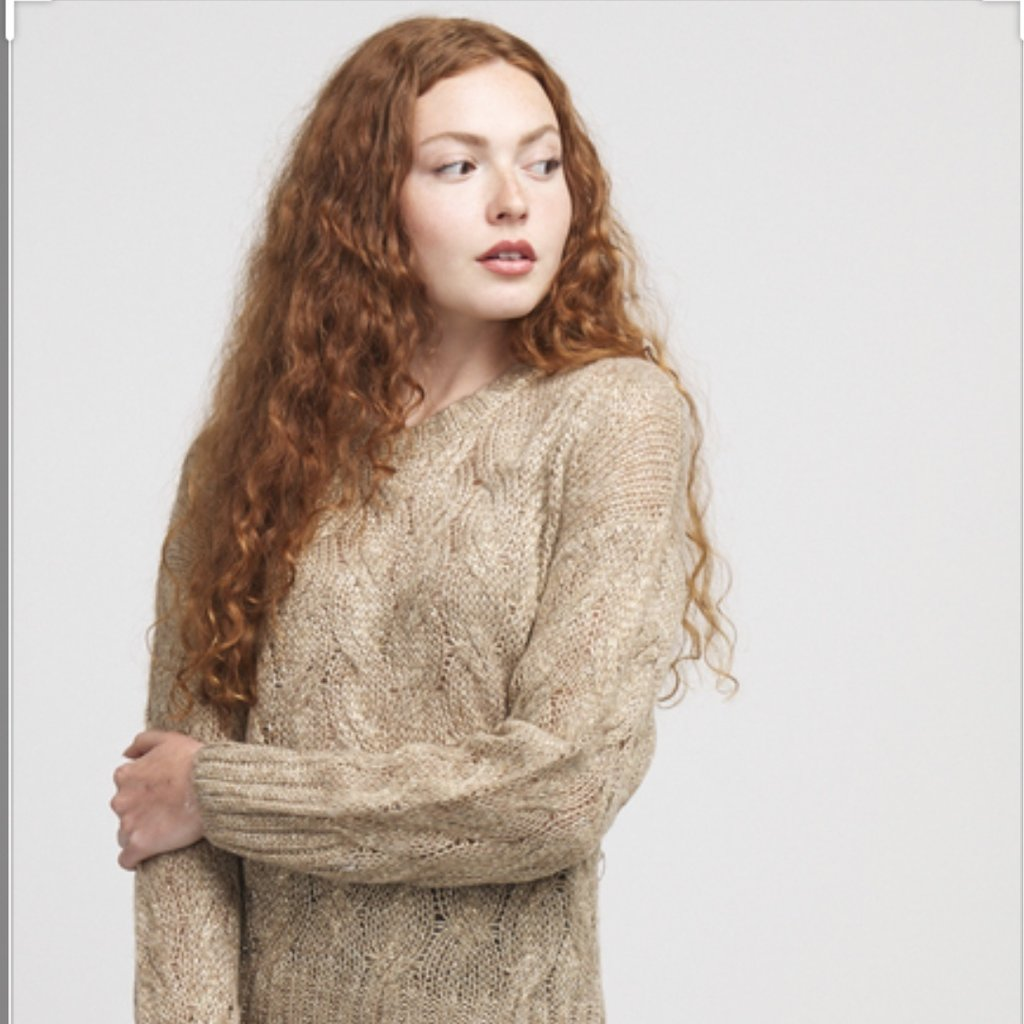 Molly Bracken Sweater Beige with Gold Threading