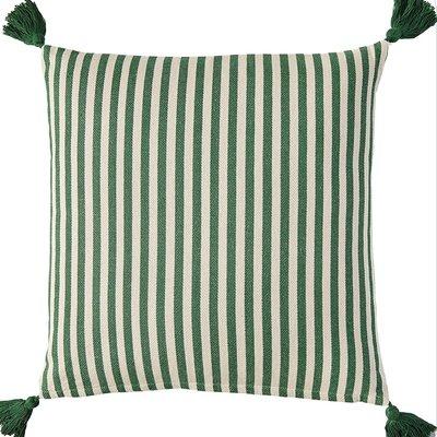 "Creative Co-Op 18"" Striped Pillow w Tassels Green"