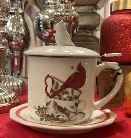 Creative Co-Op Christmas Cardinal Tea Mug w/ Lid