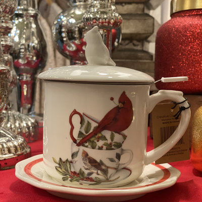Creative Co-Op Christmas Cardinal Tea Mug w/ Lid
