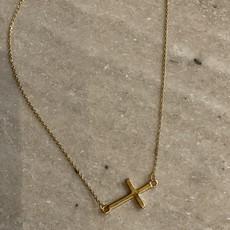 Splendid Iris Side Cross Necklace