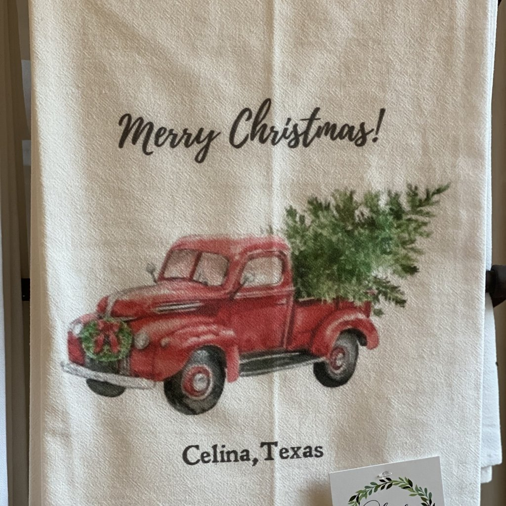 Southern Sisters Entersprises Christmas Truck Tea Towel