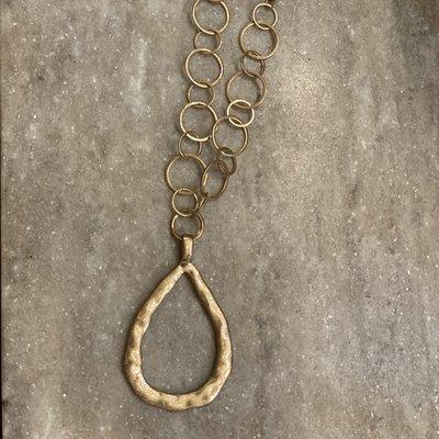ANNIE JACK DESIGN FINDS Gold Teardrop Necklace Black Crystal Beads