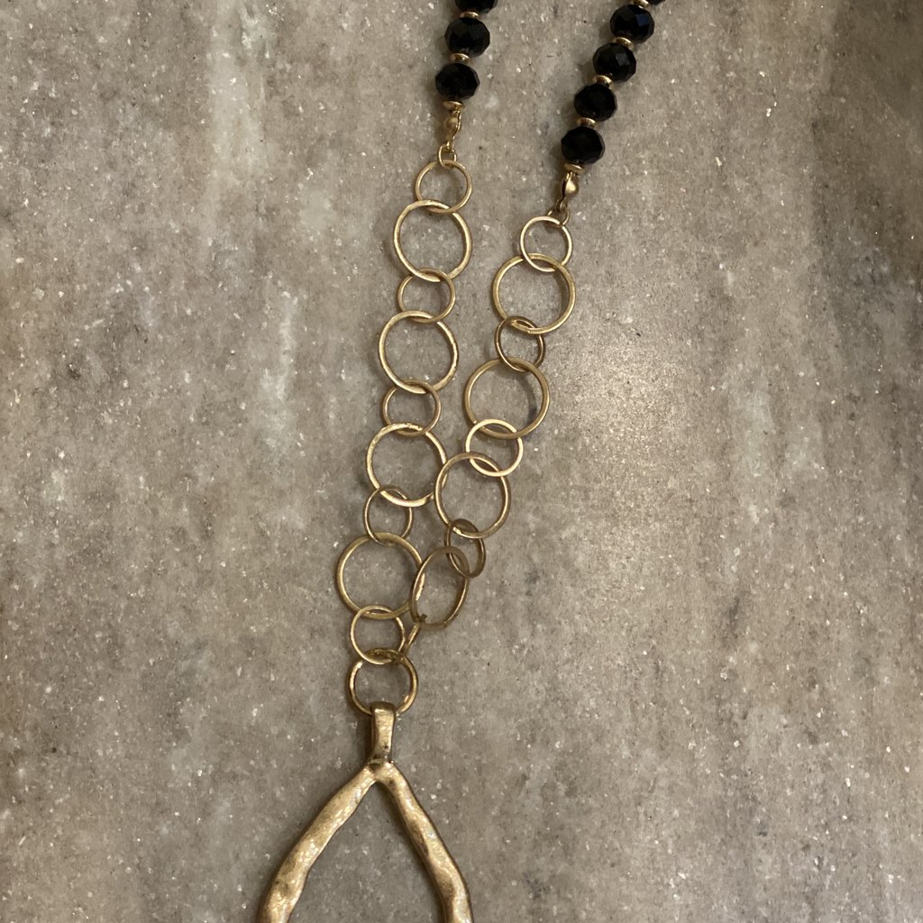 ANNIE JACK DESIGN FINDS Gold Teardrop Necklace Black Crystal Beads