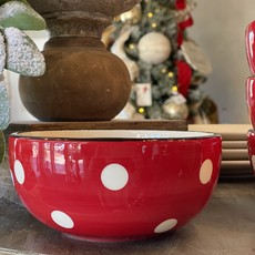 Creative Co-Op Bowl, Red & White Dots