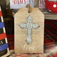 "K&K INTERIORS Wood/Metal Cross Tags  9"" L"