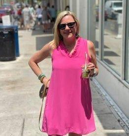 STACCATO Hot Pink Ruffled V-Neck Dress