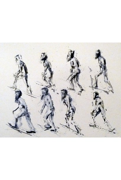 Muybridge Walks Up Incline Small Blue 8 Figures