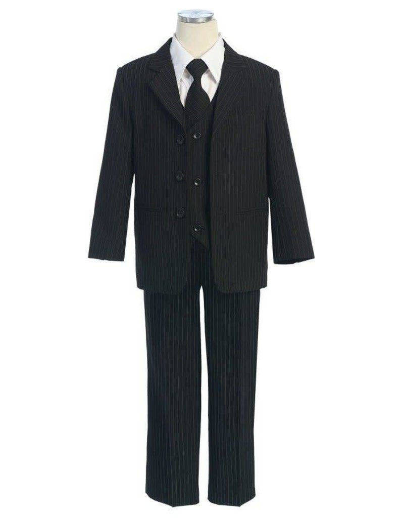 Calla Collection USA INC. Calla Collection 100% Polyester Stripe 5Pc Boy's Suit S5008-1, Color: Black, Size: ?