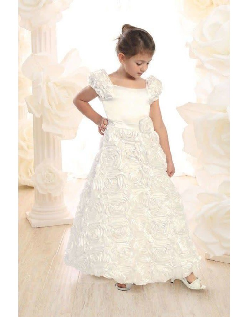 Calla Collection USA INC. Calla Collection Girl's Cap Sleeve Rose Patch Full Length Dress D-702, Color: ?, Size: ?