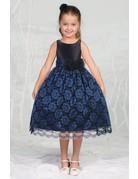 Calla Collection USA INC. Calla Collection Satin Bodice & Lace Overlay Skirt D-748, Color: Royal Blue/Black, Size: 6
