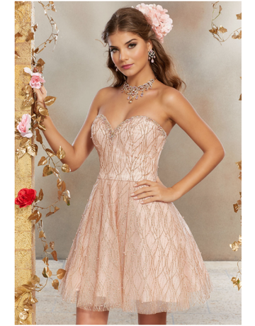Damas Mori Lee Damas 9501, Color: Rose Gold, Size: 8