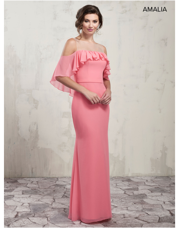 Amalia Mary's Bridal Amalia MB7016, Color: Flamingo, Size: 16