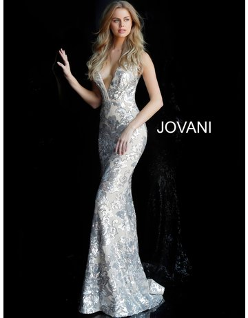 Jovani Jovani 65578, Color: Silver/Nude, Size: 12