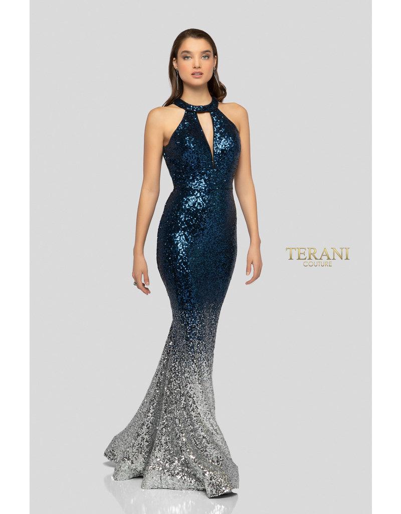 Terani Couture Terani Couture 1911P8177, Color: Blue/Silver, Size: 10