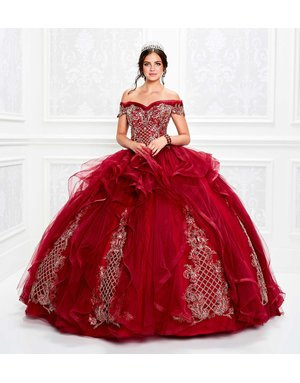 Princessa Ariana Vara Princesa 11934, Color: Wine/Gold, Size: 14