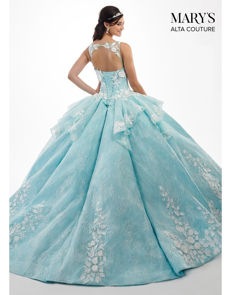 Mary's Quince Mary's Bridal Mary's Quince MQ3029, Color: White/Aqua, Size: 12