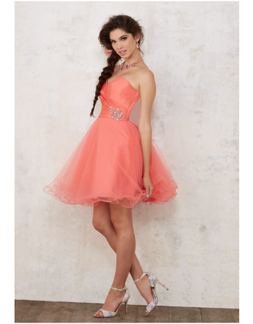 Damas Mori Lee Damas 9441, Color: Coral, Size: 8