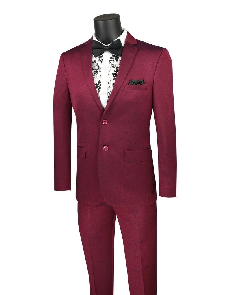 Vinci International Group Corp Vinci International SB 2BTN 2PCS Ultra Slim, Flat Front Pants, Color: Plum, Size: 40R