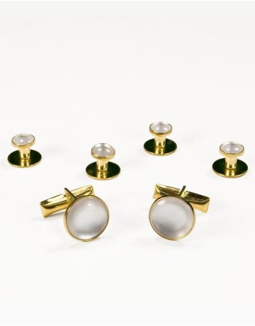 Cardi International Cardi International Basic Cuff Link Set, Color: White/Gold