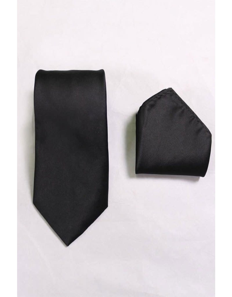 Calla Collection USA INC. Calla Collection Polyester Solid Men's Neck Tie & Handkerchief, Color: Black