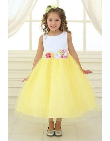 Calla Collection USA INC. Calla Collection Multi Color Flower Waistband Dress D-755, Color: White/Yellow, Size: 2