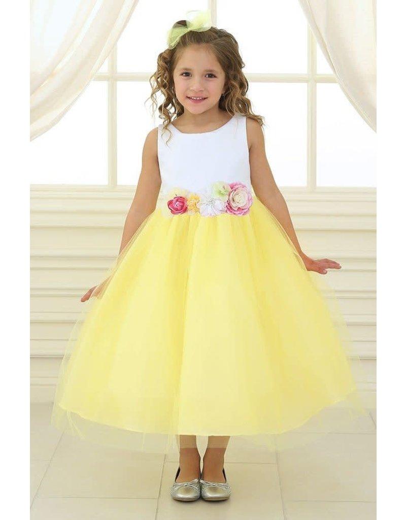 Calla Collection USA INC. Calla Collection Multi Color Flower Waistband Dress D-755, Color: White/Yellow, Size: 2