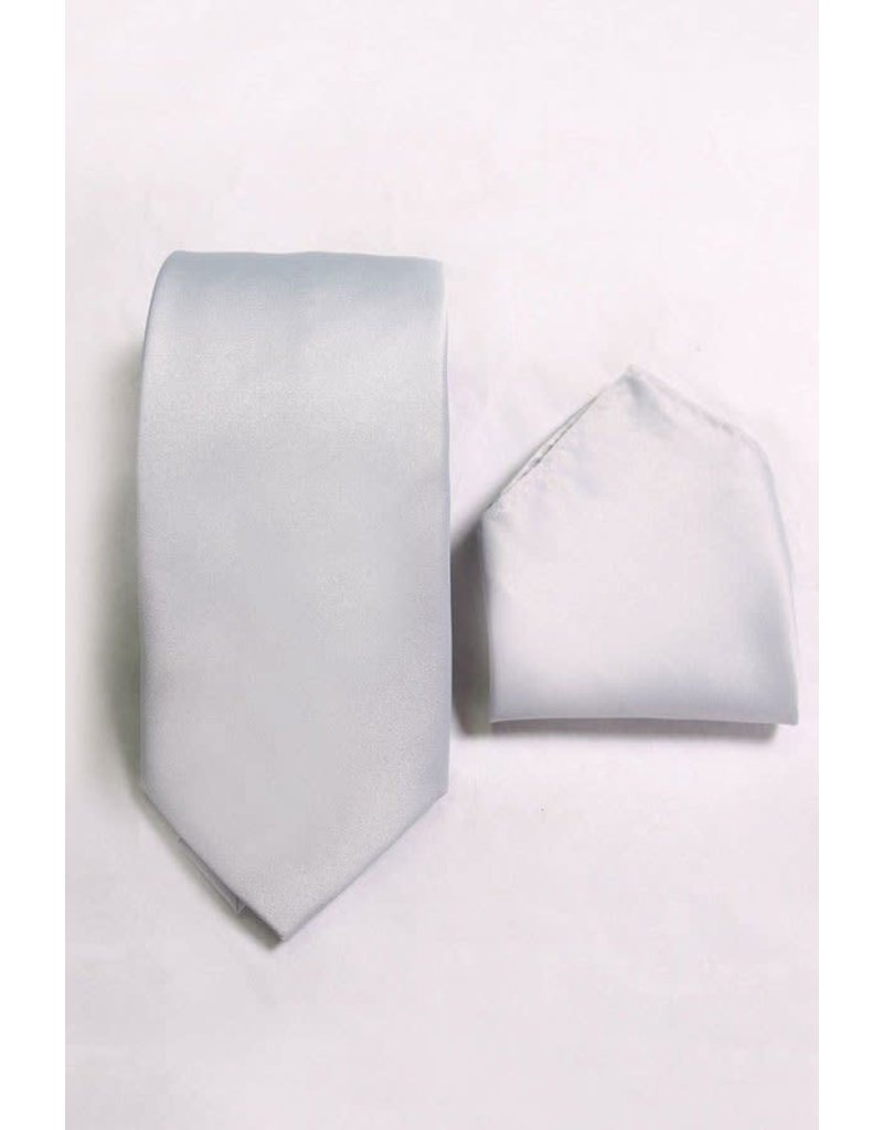 Calla Collection USA INC. Calla Collection Men's Polyester Solid Neck Tie & Handkerchief, Color: Silver