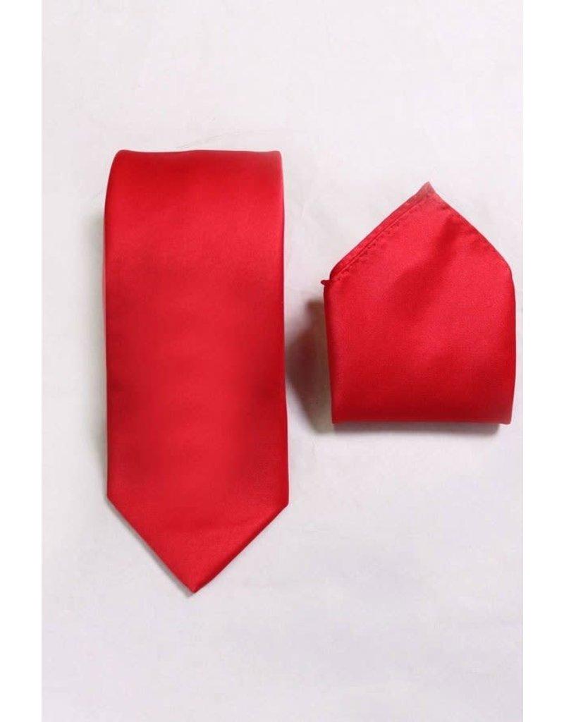 Calla Collection USA INC. Calla Collection Men's Polyester Solid Neck Tie & Handkerchief, Color: Red