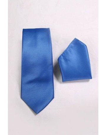 Calla Collection USA INC. Calla Collection Men's Polyester Solid Neck Tie & Handkerchief, Color: Royal Blue