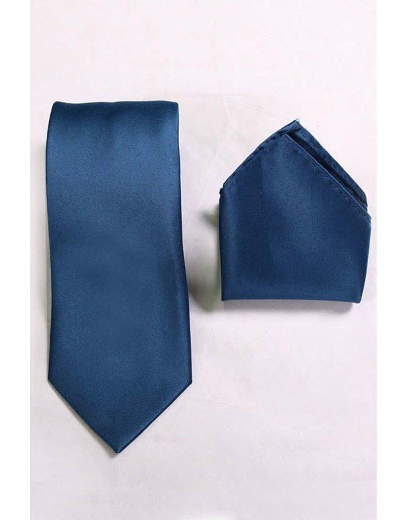 Calla Collection USA INC. Calla Collection Men's Polyester Solid Neck Tie & Handkerchief, Color: Navy