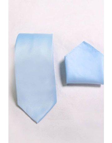 Calla Collection USA INC. Calla Collection Men's Polyester Solid Neck Tie & Handkerchief, Color: Light Blue