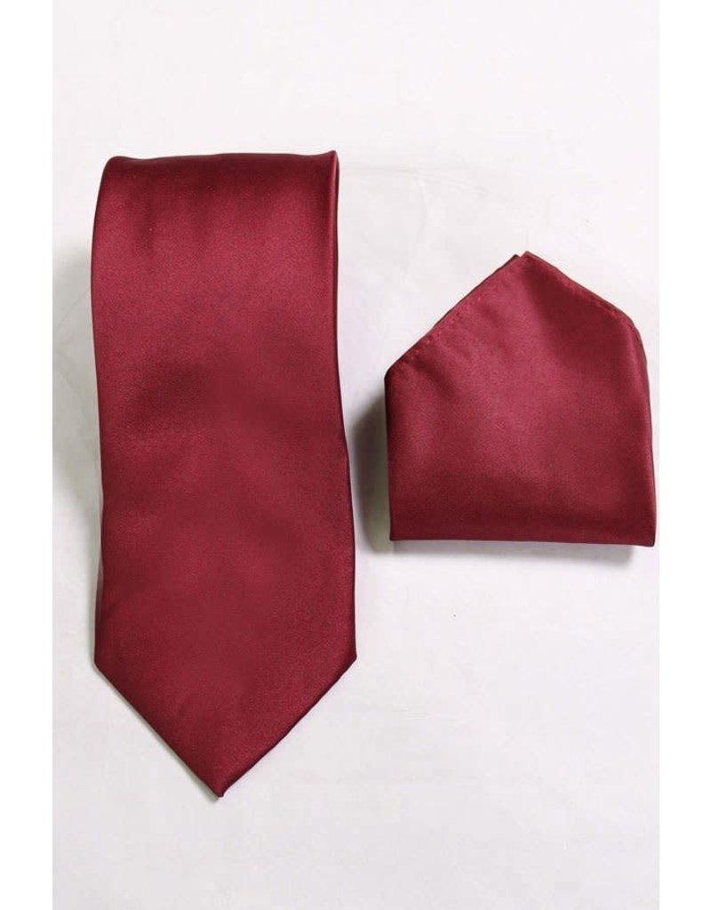 Calla Collection USA INC. Calla Collection Men's Polyester Solid Neck Tie & Handkerchief, Color: Burgundy