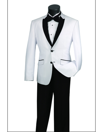 Vinci International Group Corp Vinci Men's Suit S2PS1, Color: White/Black, Size: 38R