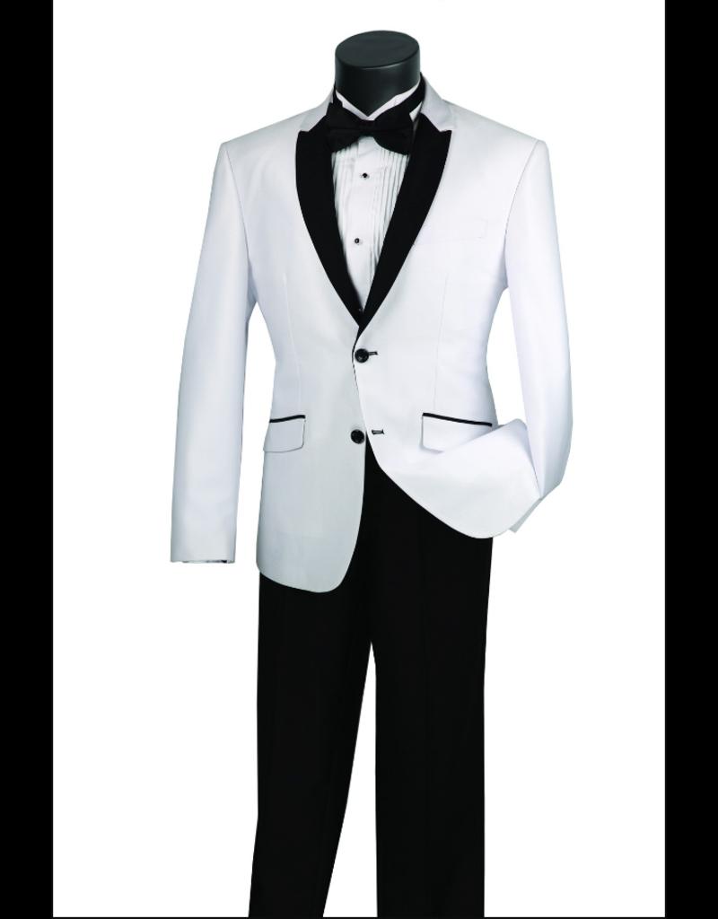 Vinci International Group Corp Vinci Men's Suit S2PS1, Color: White/Black, Size: 40R