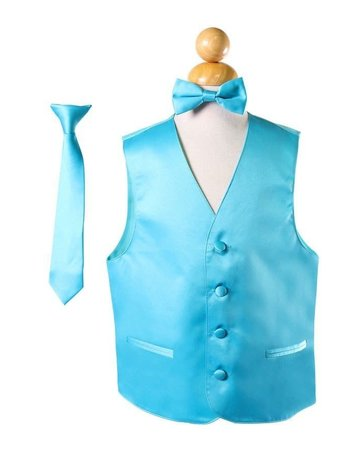 Calla Collection USA INC. BOY'S VEST 3 PC SET - VEST, NECK TIE, BOW TIE Aqua 2 vs1010boys