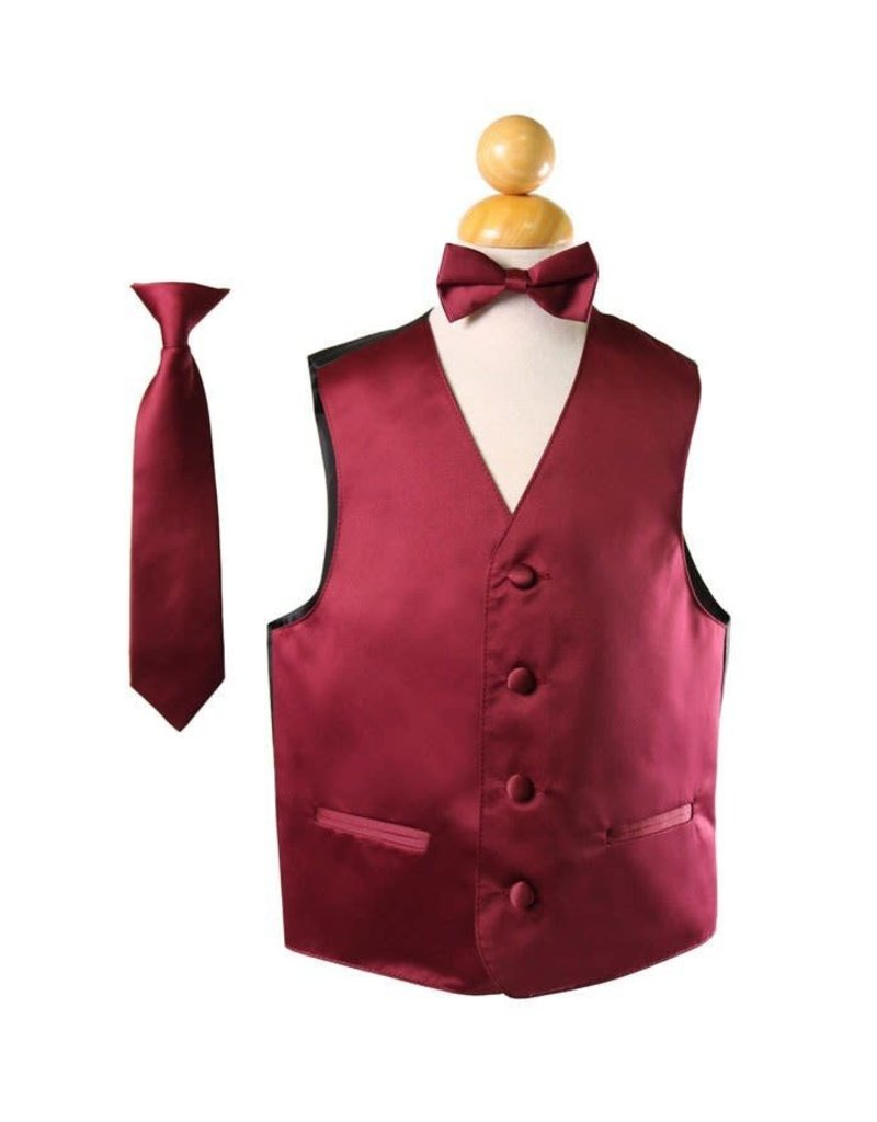 Calla Collection USA INC. Calla Collection Boy's Vest 3Pc Set VS1010Boys, Color: Burgundy, Size: 6