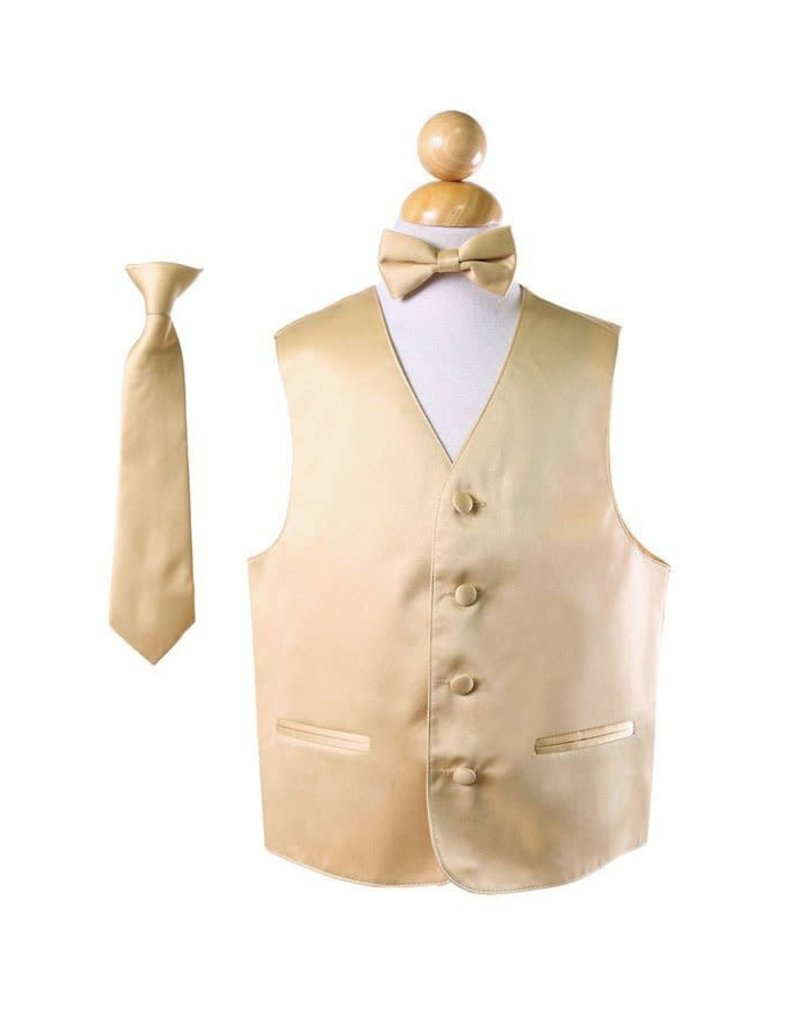 Calla Collection USA INC. Calla Collection Boy's Vest 3Pc Set VS1010Boys, Color: Gold, Size: 10