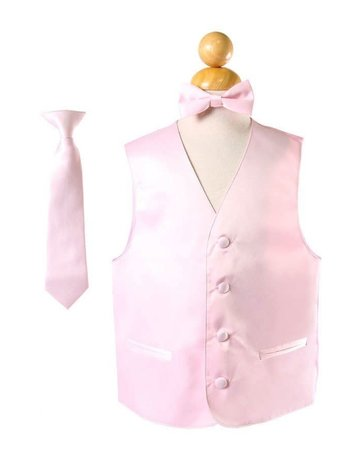 Calla Collection USA INC. Calla Collection Boy's Vest 3Pc Set VS1010Boys, Color: Pink , Size: 8