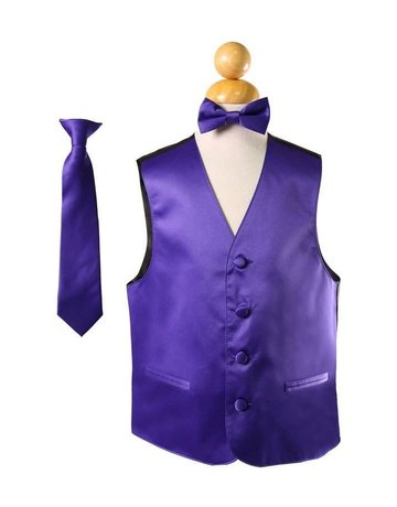 Calla Collection USA INC. Calla Collection Boy's Vest 3Pc Set VS1010Boys, Color: Purple, Size: 12