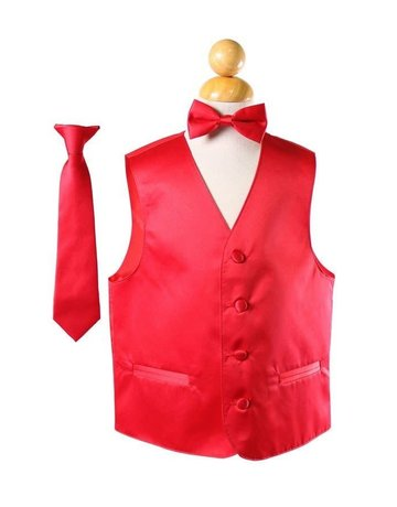 Calla Collection USA INC. Calla Collection Boy's Vest 3Pc Set VS1010Boys, Color: Red, Sizes: 10