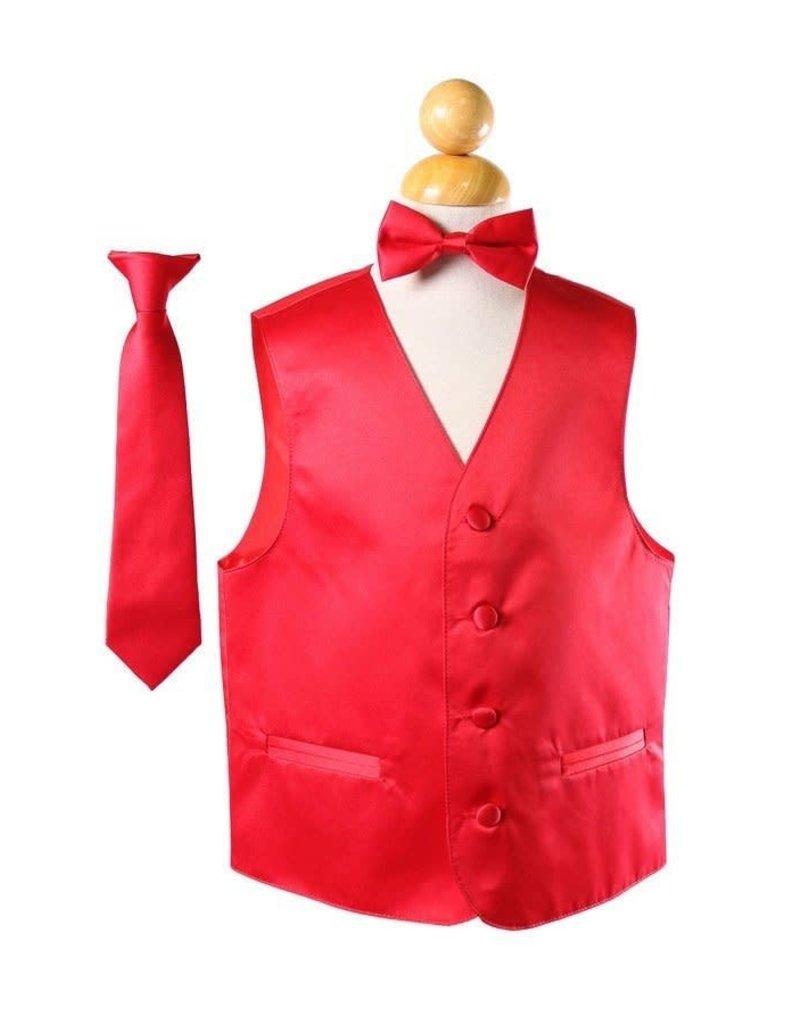 Calla Collection USA INC. Calla Collection Boy's Vest 3Pc Set VS1010Boys, Color: Red, Sizes: 10