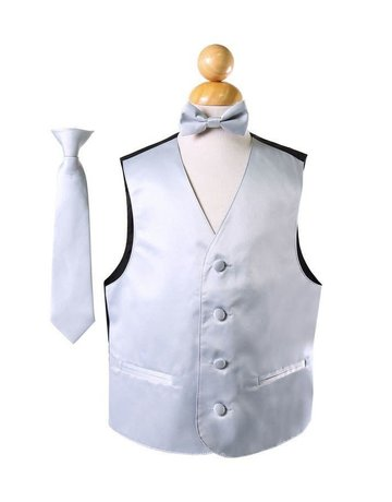 Calla Collection USA INC. Calla Collection Boy's Vest 3Pc Set VS1010Boys, Color: Silver, Size: 12
