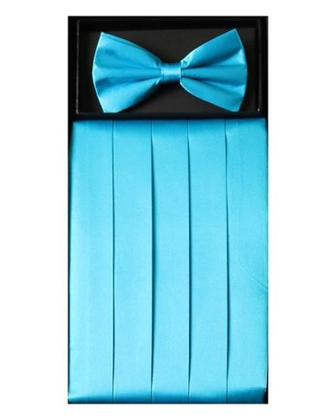 Calla Collection USA INC. Calla Collection Men's Silk Cummerbund & Bow Tie Set cb-m, Color: Aqua