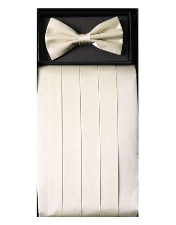 Calla Collection USA INC. Calla Collection Men's Silk Cummerbund & Bow Tie Set cb-m, Beige