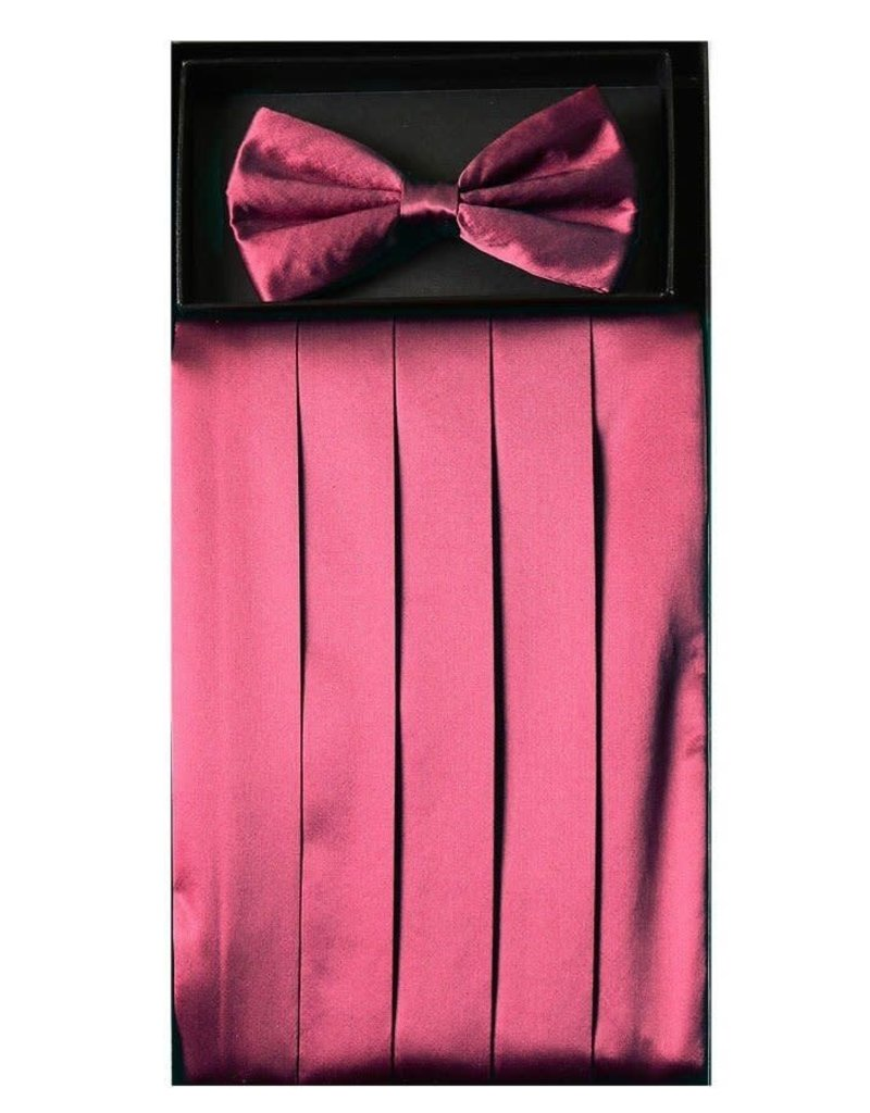 Calla Collection USA INC. Calla Collection Men's Silk Cummerbund & Bow Tie Set cb-m, Color: Burgundy