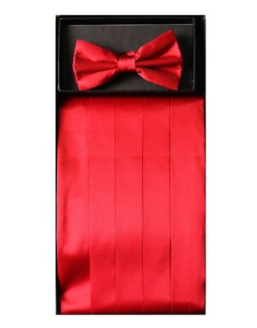 Calla Collection USA INC. Calla Collection Men's Silk Cummerbund & Bow Tie Set cb-m, Color: Red