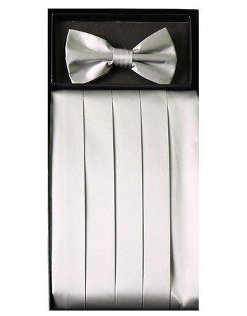 Calla Collection USA INC. Calla Collection Men's Silk Cummerbund & Bow Tie Set cb-m, Color: Silver