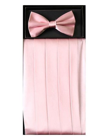 Calla Collection USA INC. Calla Collection Men's Silk Cummerbund & Bow Tie Set cb-m, Color: Pink